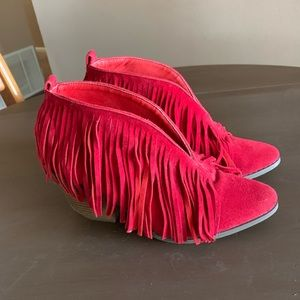 Shoes - Red fringe booties